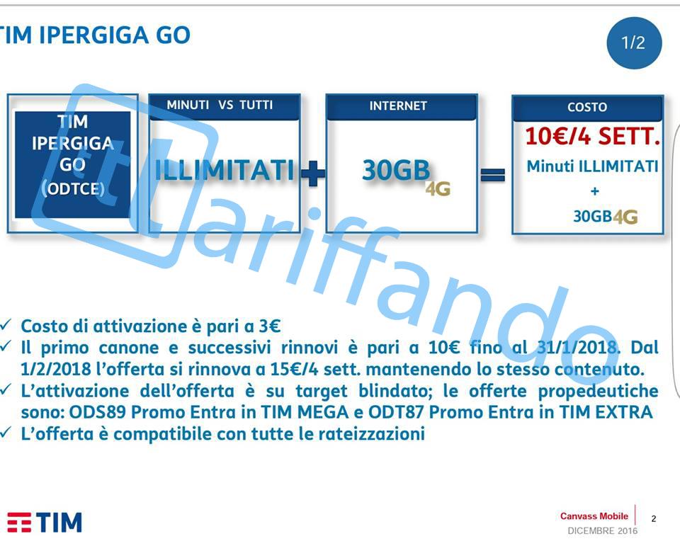 TIM IperGIGA GO - Minuti illimitati e 30GB a 10€