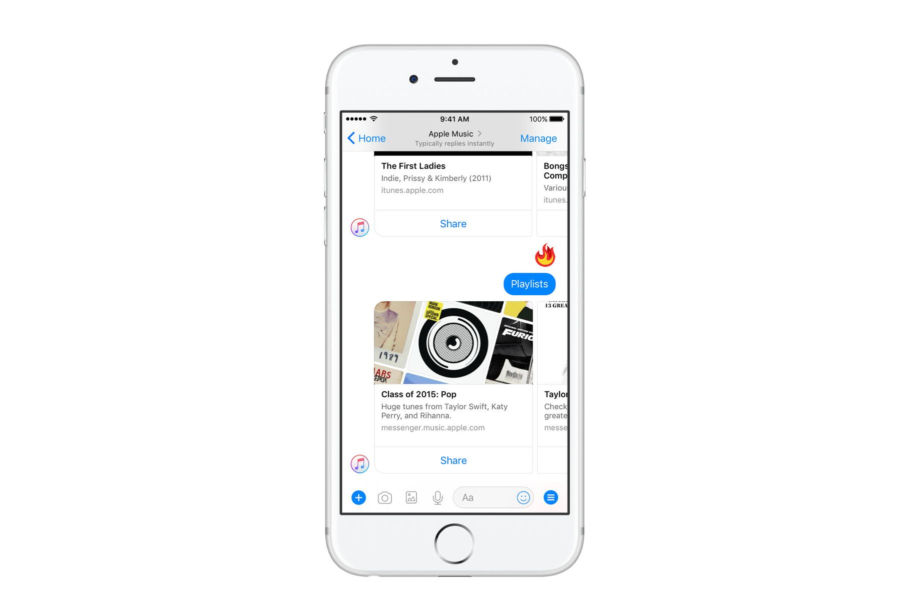 Apple Music è ora disponibile su Facebook Messenger