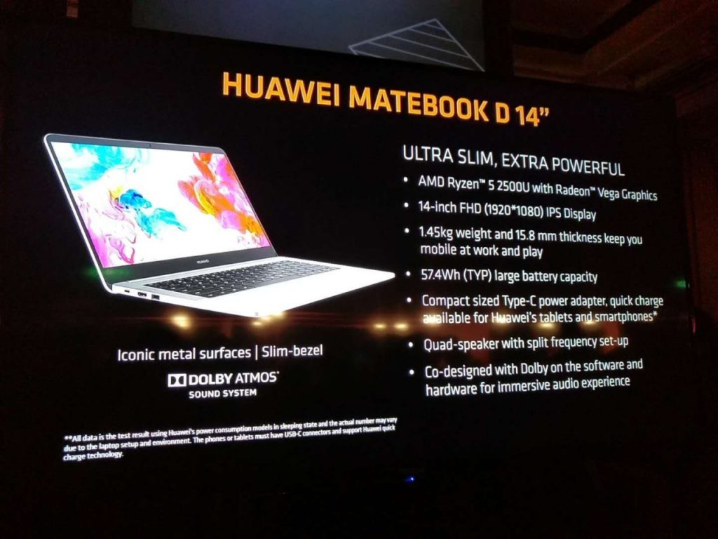 Huawei MateBook D da 14 pollici è ufficiale con AMD Ryzen 5-2500U 1