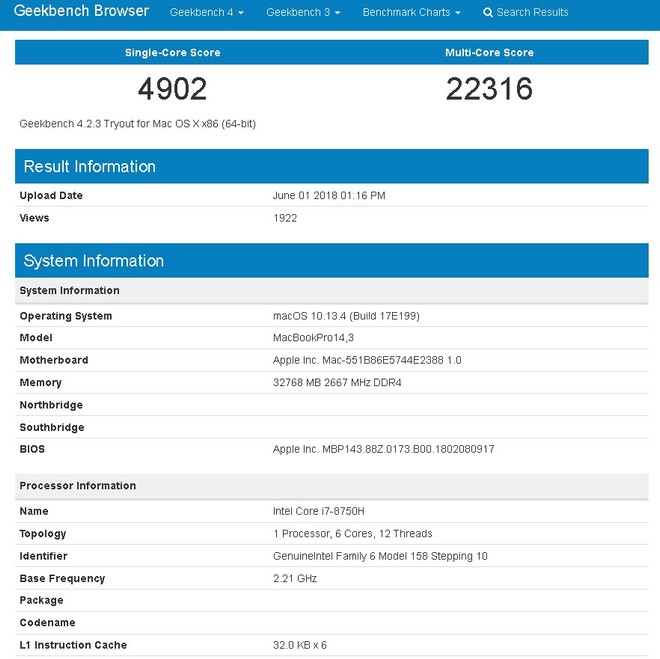 MacBook Pro 2018 Geekbench