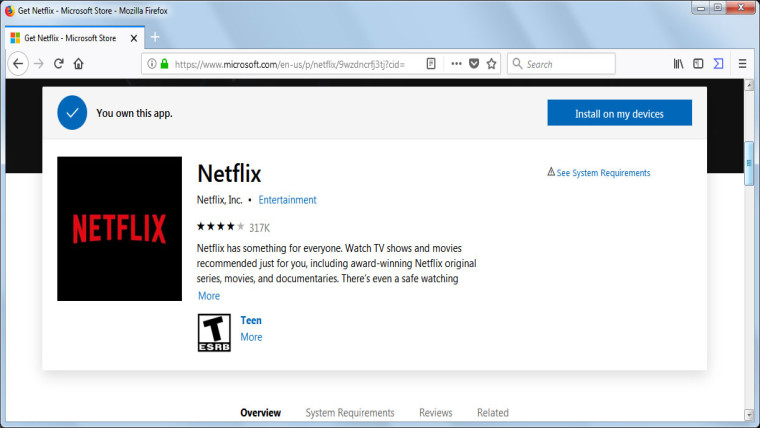 Netflix Microsoft Store