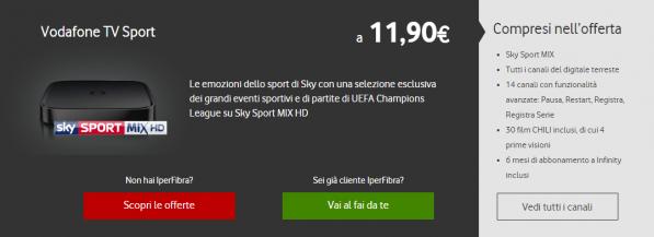 Vodafone TV Sport e Vodafone TV + NOW TV Intrattenimento, ecco il dettaglio dei costi 1