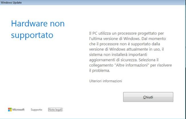 Come usare Windows Update con Windows 7 e Windows 8.1  su PC con Intel Kaby Lake o Cofee Lake 1