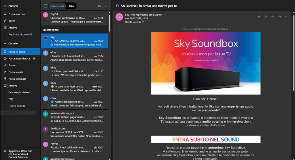 Outlook nuova UI