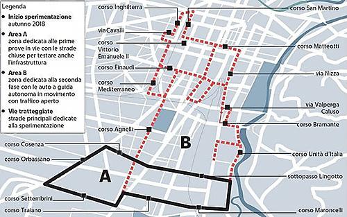 Torino auto a guida autonoma