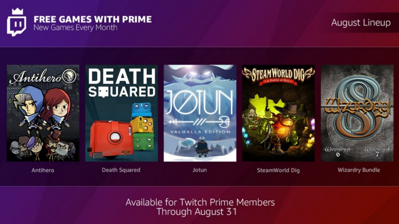 Twitch Amazon Prime giochi agosto