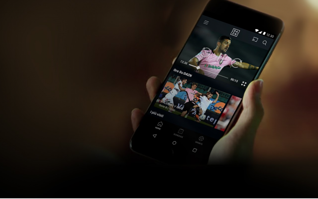DAZN streaming Serie A smartphone