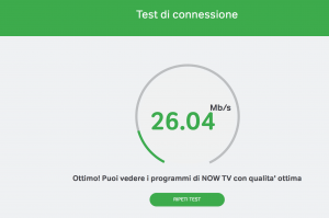 NOW TV test della velocità internet