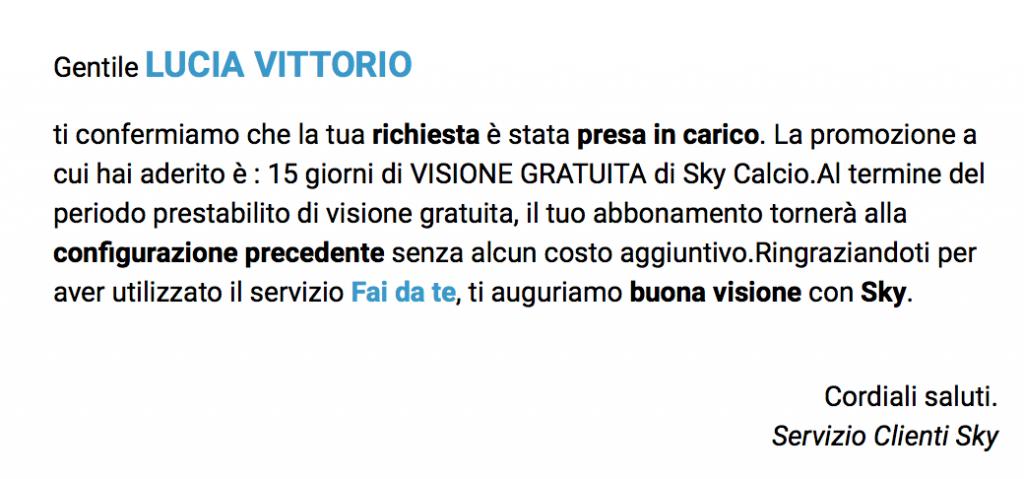 Sky Calcio 15 giorni gratuiti