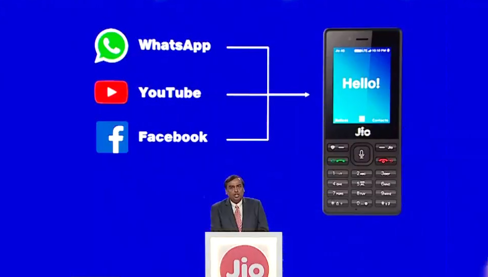 JioPhone KaiOS WhatsAPp, YouTube e Facebook