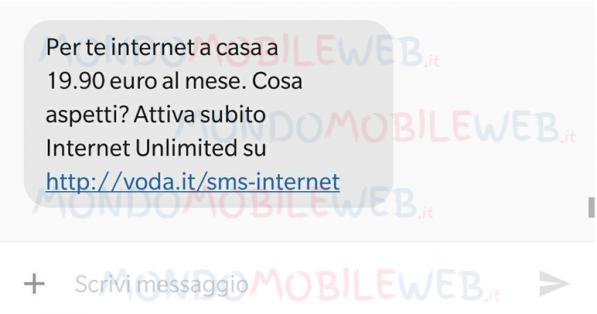 Vodafone sta inviando SMS proponendo Internet Unlimited in FTTH o FTTC con sconto Digital Edition 1