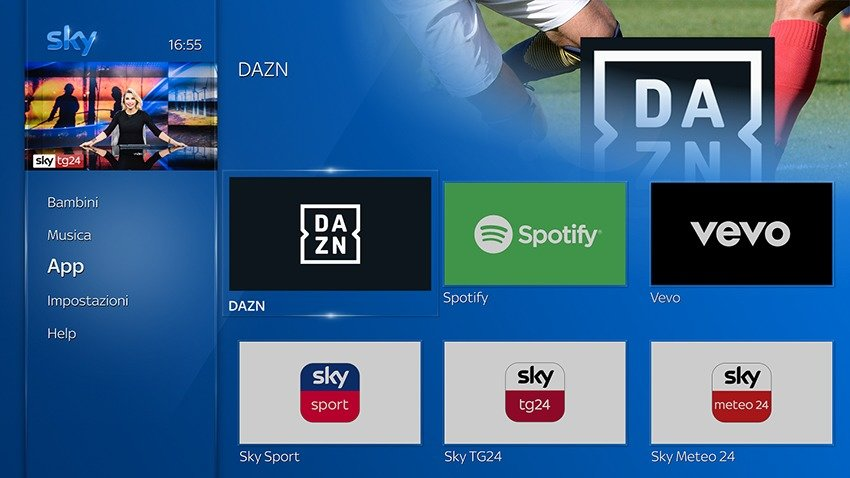 DAZN e Spotify su Sky Q