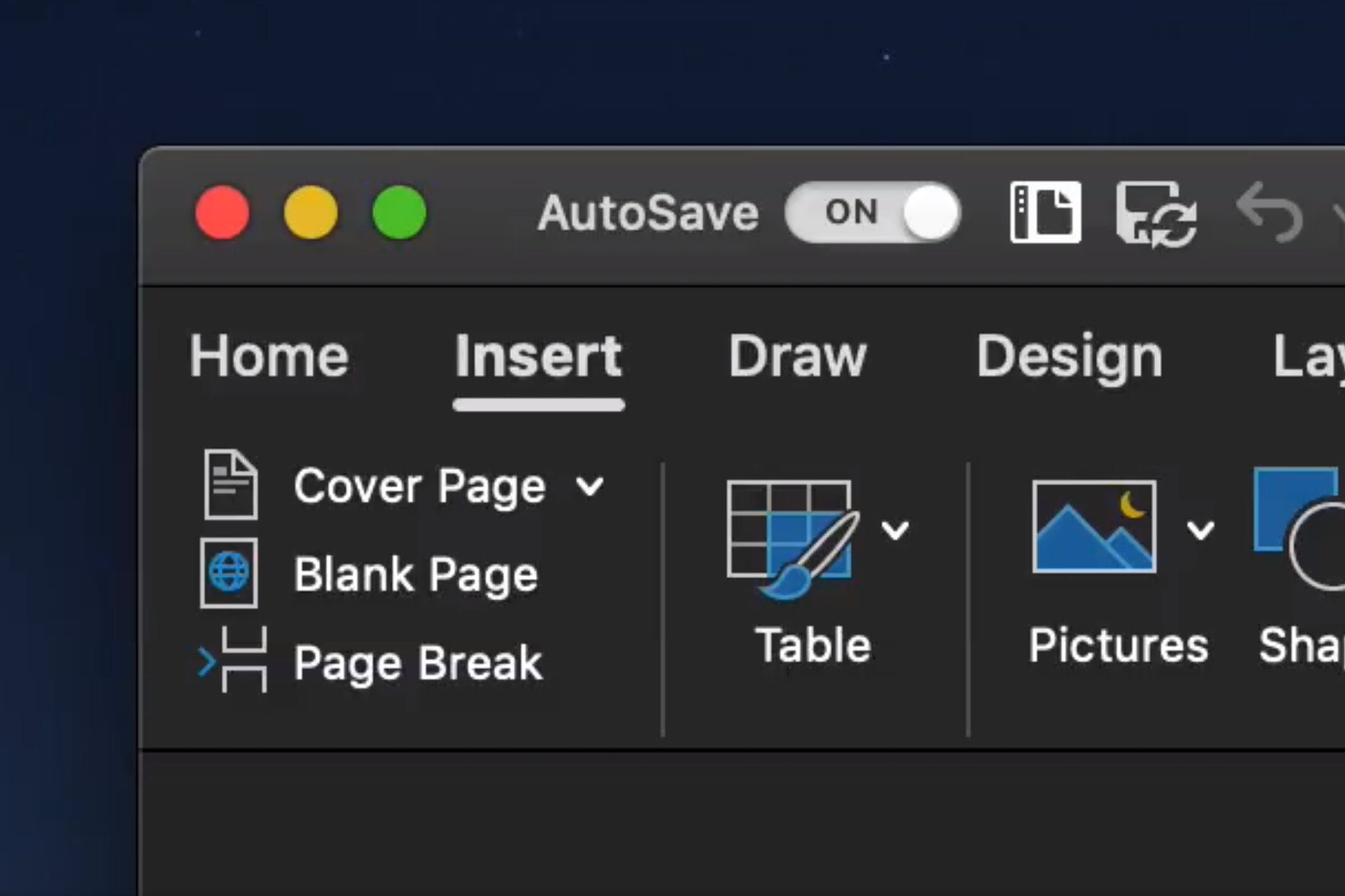 Microsoft Office Dark Mode macOS Mojave