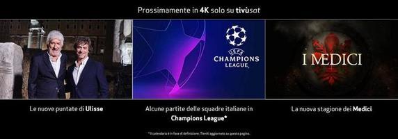 La Rai trasmetterà la Champions League in 4K su Tivusat 1