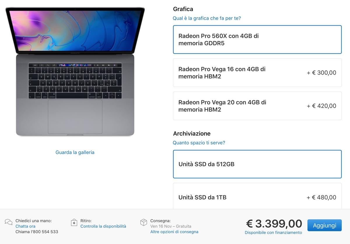 MacBook Pro 15 con AMD GPU Radeon Pro Vega