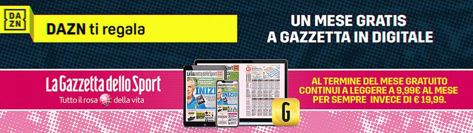 DAZN offre 1 mese gratis di Gazzetta Gold 1