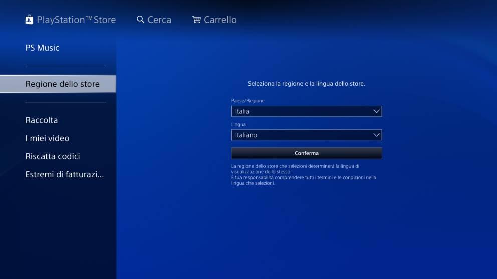 PlayStation Store cambio regione