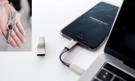 High Five è un portachiavi 5-in-1 dotato di porte Lightning, USB-C, USB-A e Micro-USB