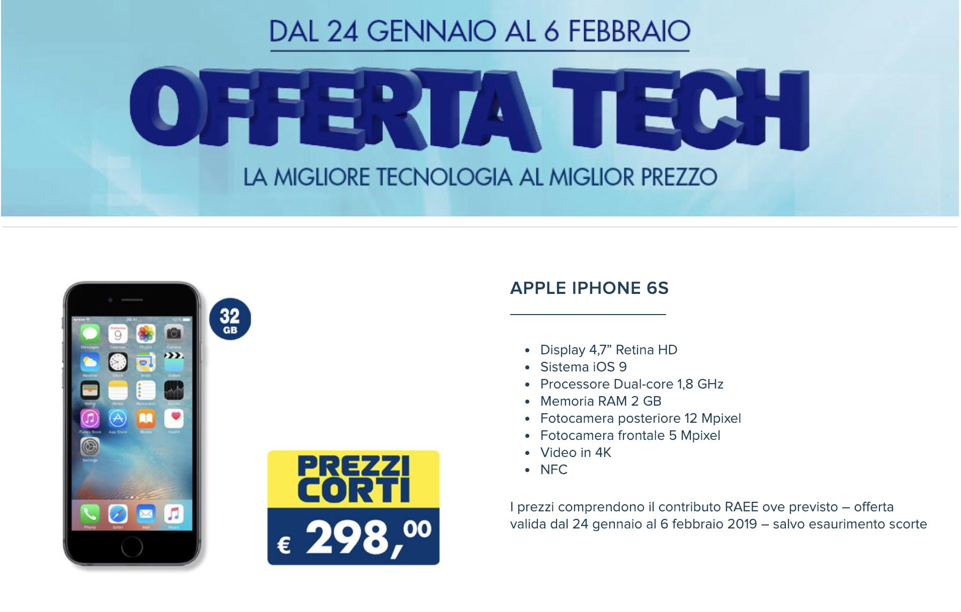 iPhone 6s offerta
