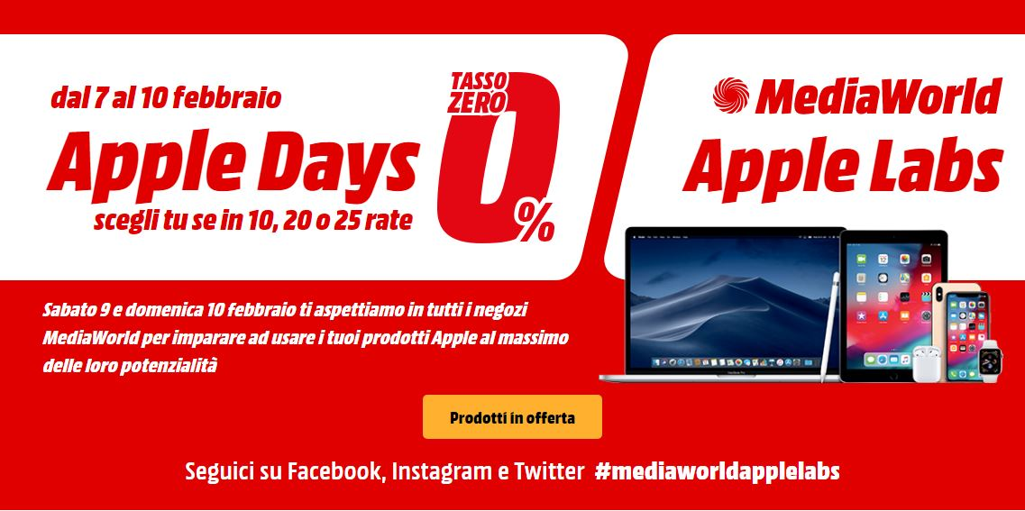 Mediaworld Apple Days e Apple Labs