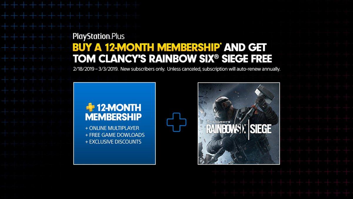 Rainbow Six: Siege gratuito per chi si abbona a 12 mesi di PlayStation Plus