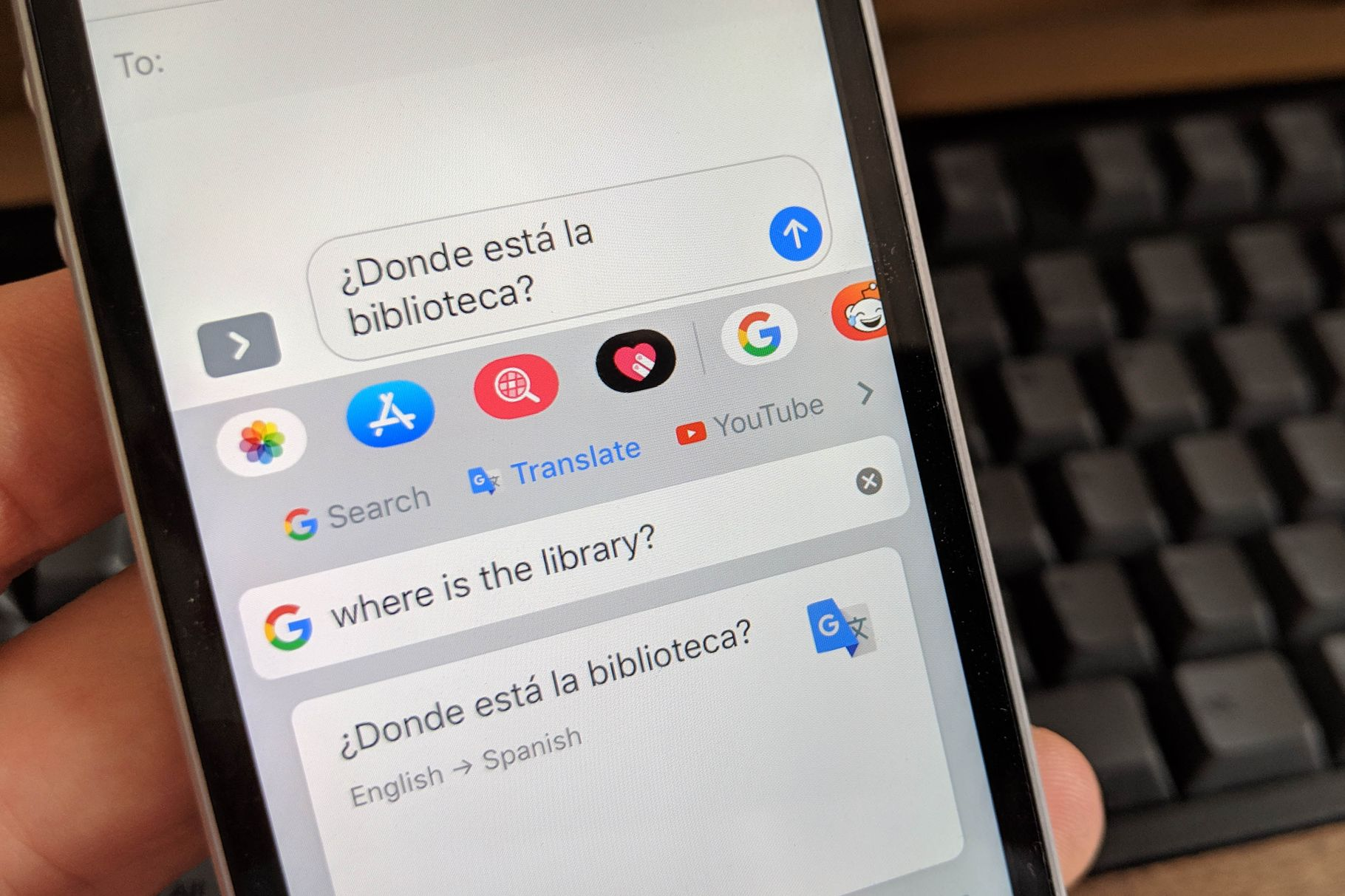 Google Translate integrato su Gboard iOS