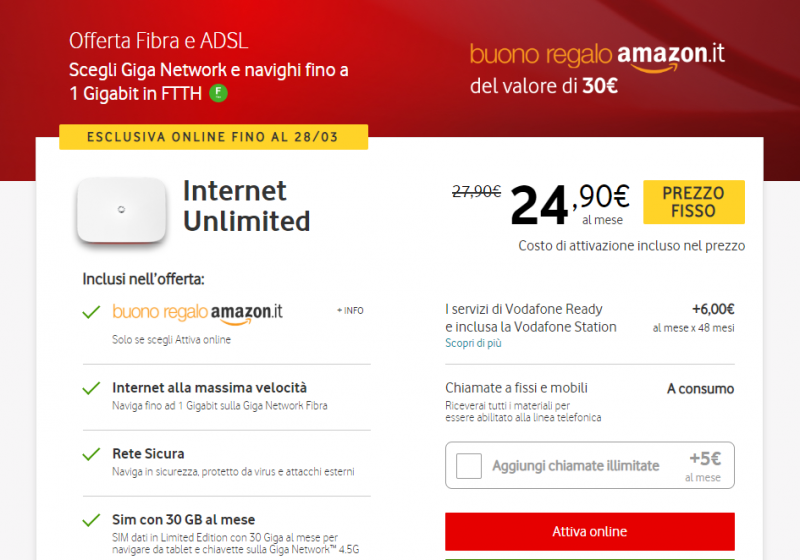Vodafone Internet Unlimited Buono Regalo Amazon da 30 euro