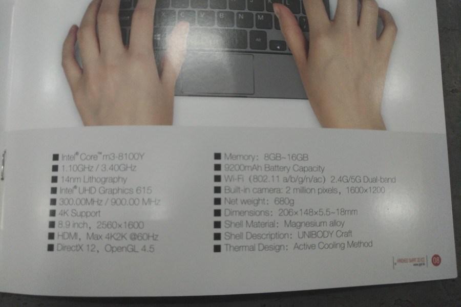 GPD Pocket 2 Max ufficiale con display da 8,9 pollici e CPU Intel Core m3-8100Y 2
