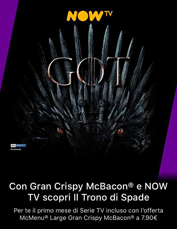 Come avere 1 mese di Now TV (Serie TV) gratis con McDonald's 1