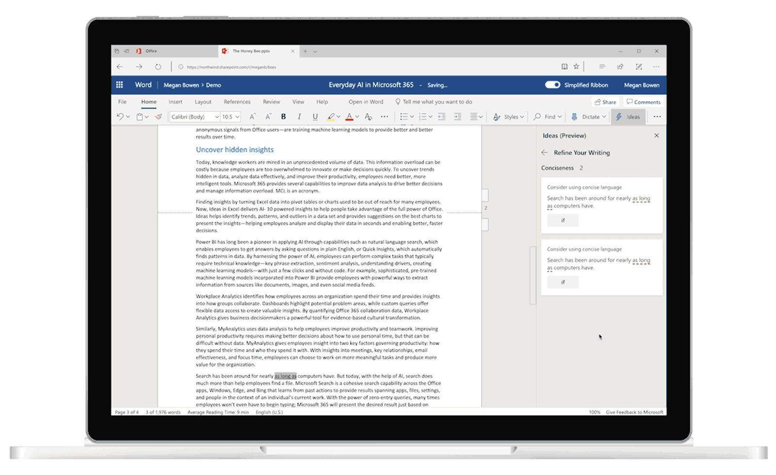 Microsoft Word IA suggerisce cambiamenti