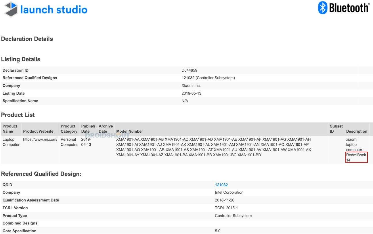 RedmiBook 14, il primo notebook a marchio Redmi, riceve la certificazione Bluetooth 1