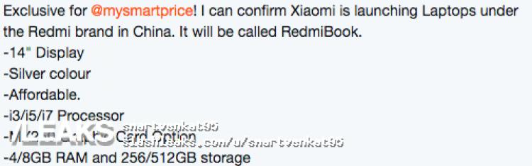 Conferme sulle specifiche super e sull'estetica di RedmiBook 14 1