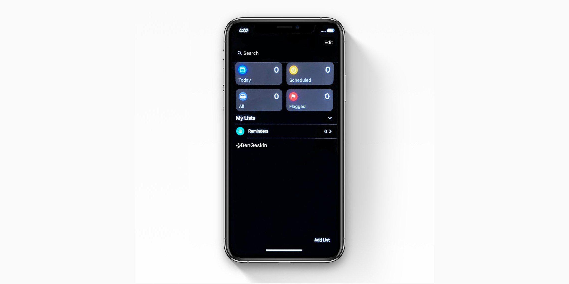 App Promemoria iOS 13 Dark Mode