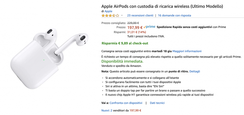 AirPods 2 con case a ricarica wireless in offerta su Amazon a meno di 190 Euro 1