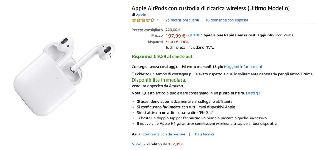 AirPods 2 con case a ricarica wireless in offerta su Amazon a meno di 190 Euro 1