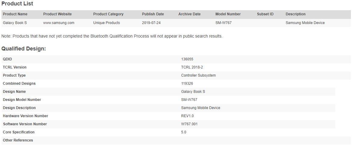Samsung Galaxy Book S vicino al debutto | Certificazione Bluetooth 1