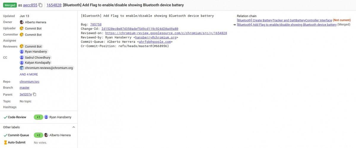I Chromebook mostrano adesso la percentuale di batteria dei dispositivi Bluetooth connessi 1