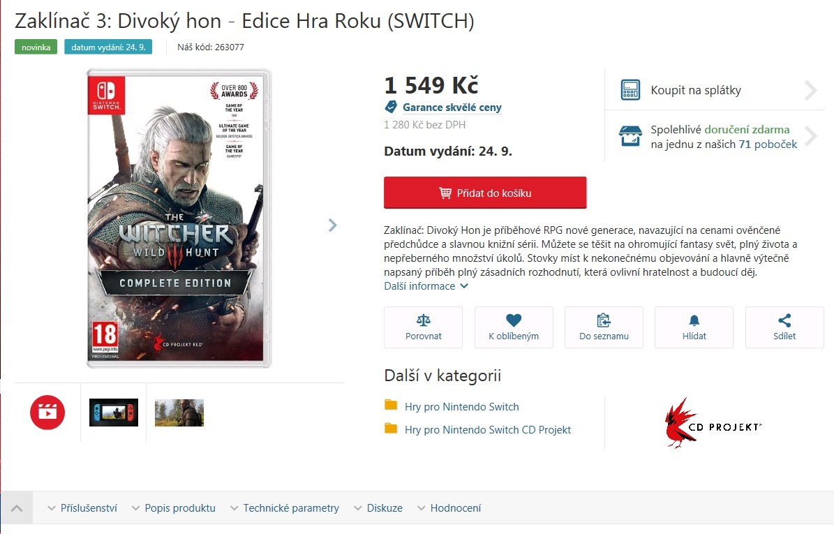 Ecco quando arriverà The Witcher 3 su Nintendo Switch 1