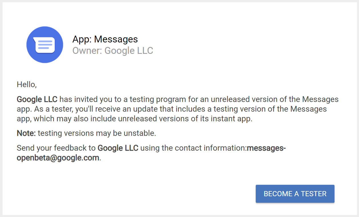 Google avvia il programma beta per l'app Messaggi 1