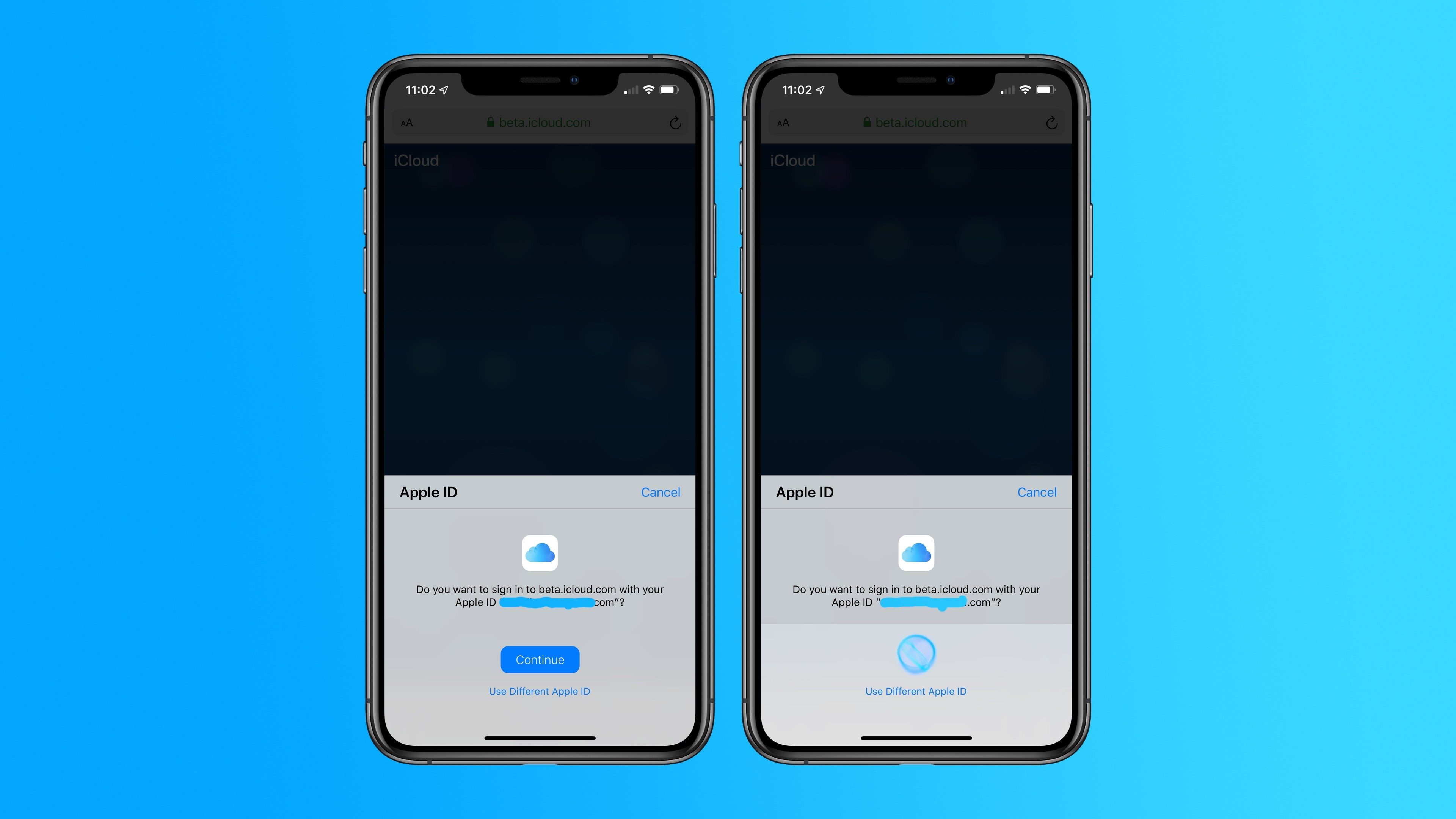 icloud.com accesso Face ID Touch ID