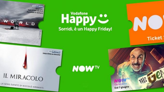 4 mesi di NOW TV gratuiti con Vodafone Happy Friday