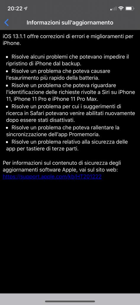 iOS 13.1.1 e iPadOS 13.1.1 disponibili al download: in arrivo tanti bugfix