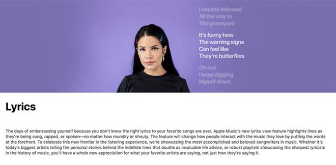apple music testi delle canzoni