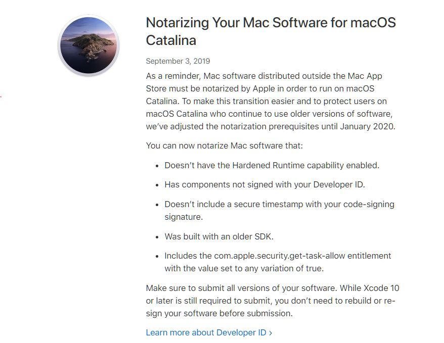 Apple allenta i requisiti di autenticazione per le app su macOS Catalina 1