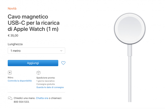 cavo magnetico USB‑C da 1 metro per Apple Watch