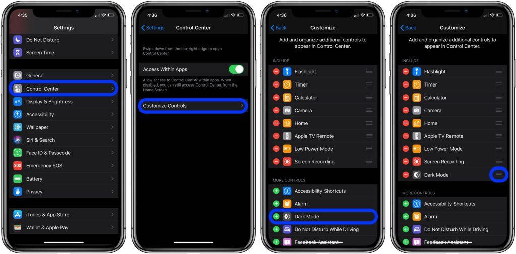 Come aggiungere la scorciatoia alla Dark Mode sul Control Center di iOS 13 1