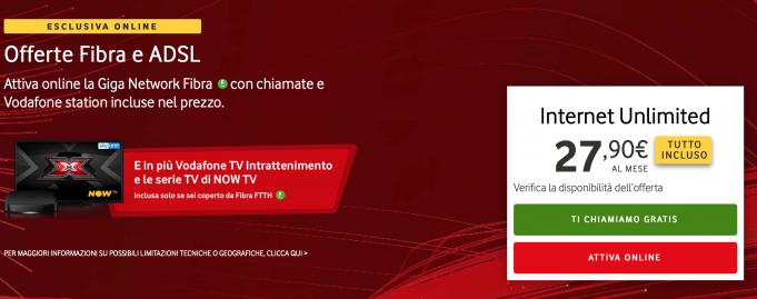 Vodafone Internet Unlimited con tutto incluso e velocità fino a 1 Gbps a 27,90 euro al mese