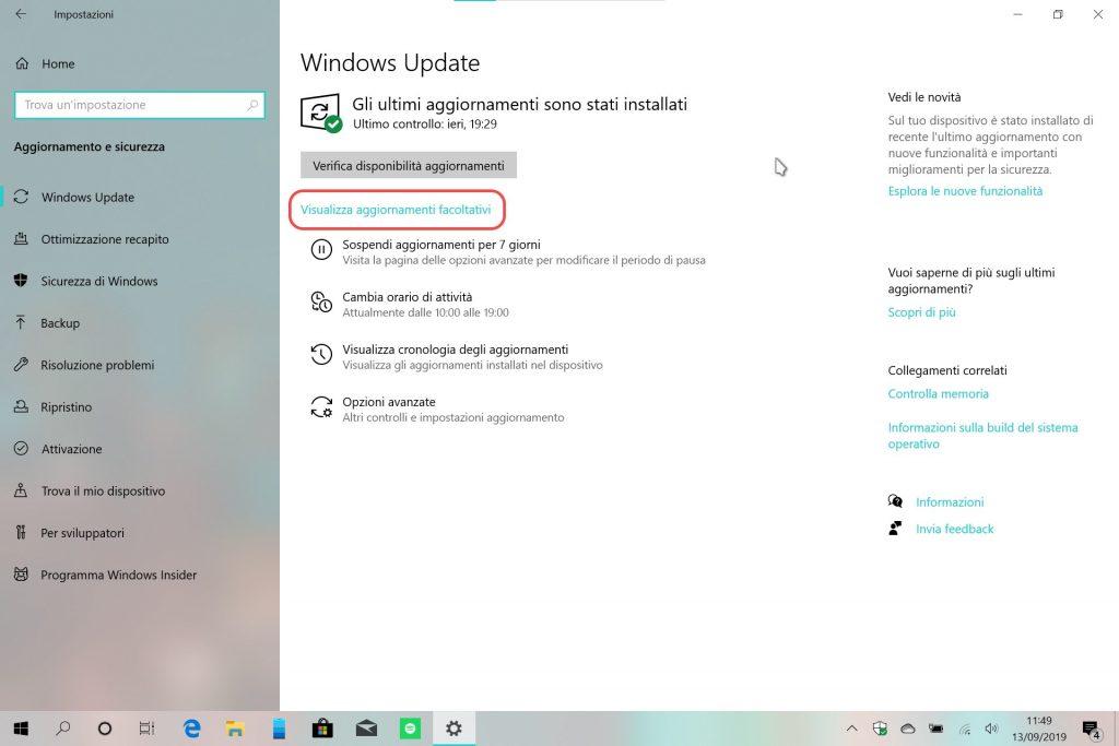 Windows 10 20H1 aggiornamenti facoltativi Windows Update