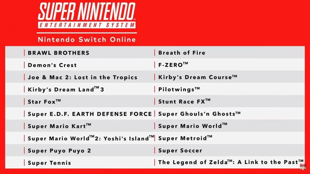 Nintendo Switch Online lista giochi SNES