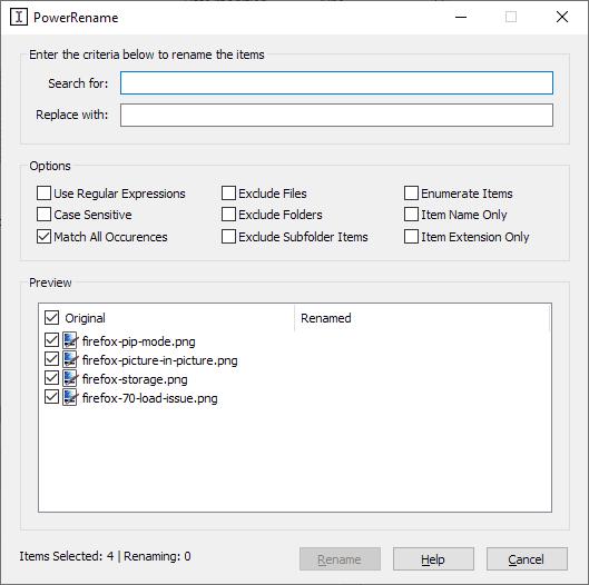 Windows 10 PowerToys PowerRename